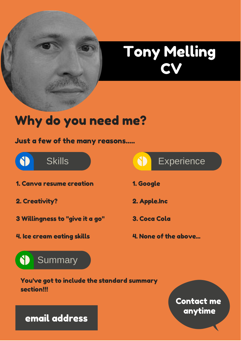 You can create a stand out resume or cv on canva. Let your creativity ...